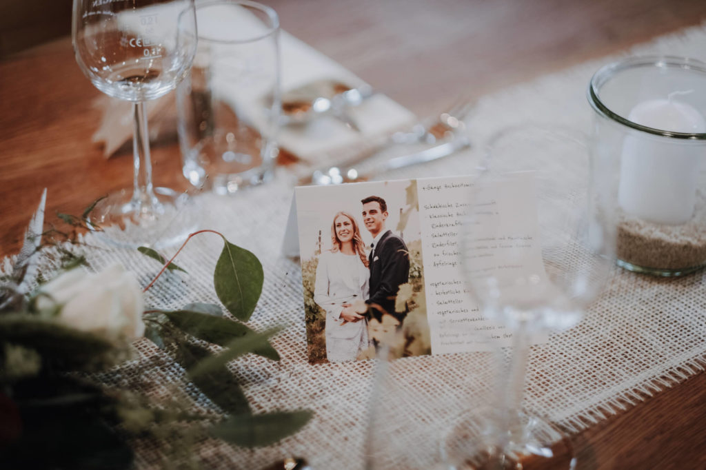 Tischdeko Hochzeit Menükarte